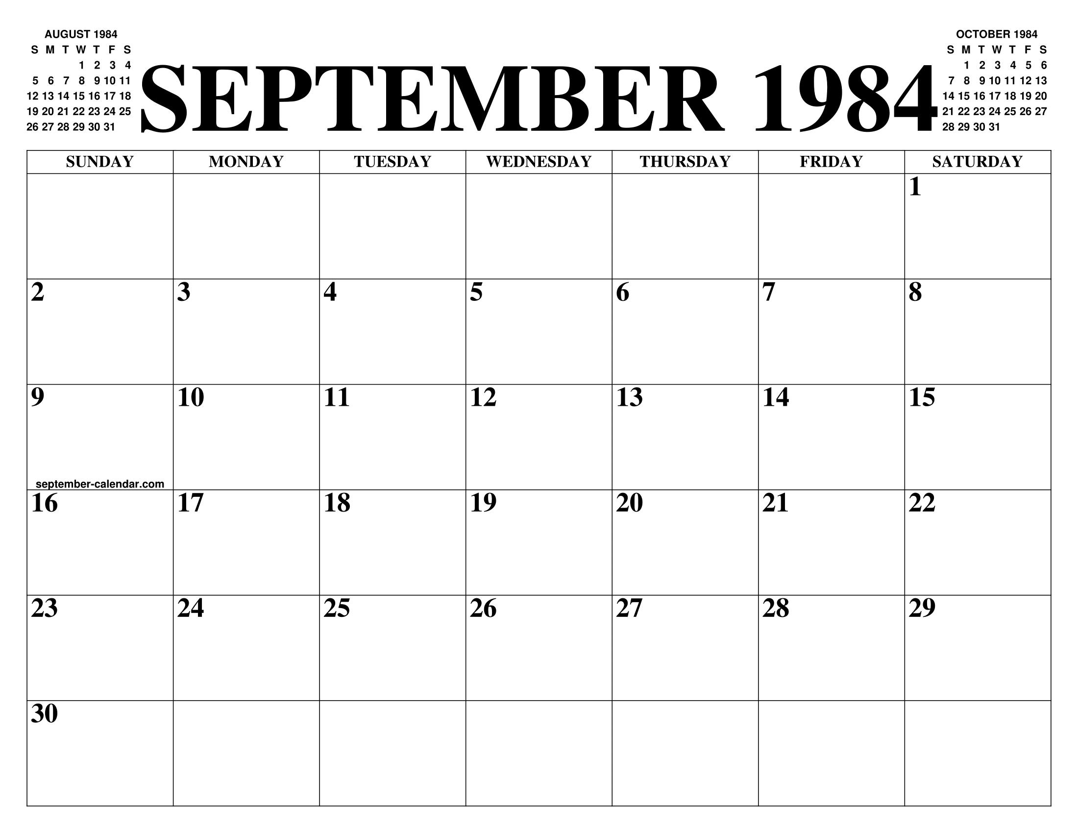 September 1984 Calendar Of The Month Free Printable September
