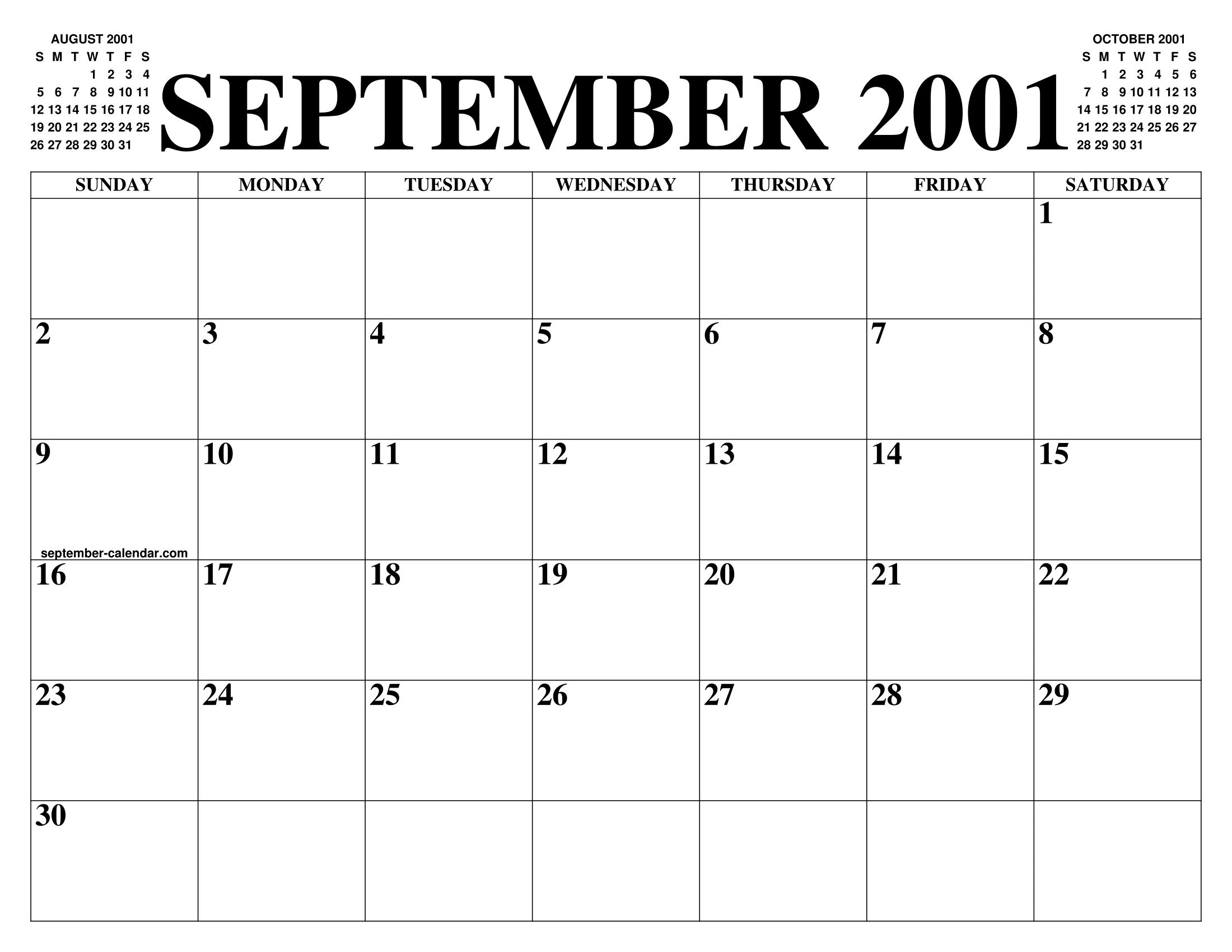 Calendario 2001.September 2001 Calendar Of The Month Free Printable September