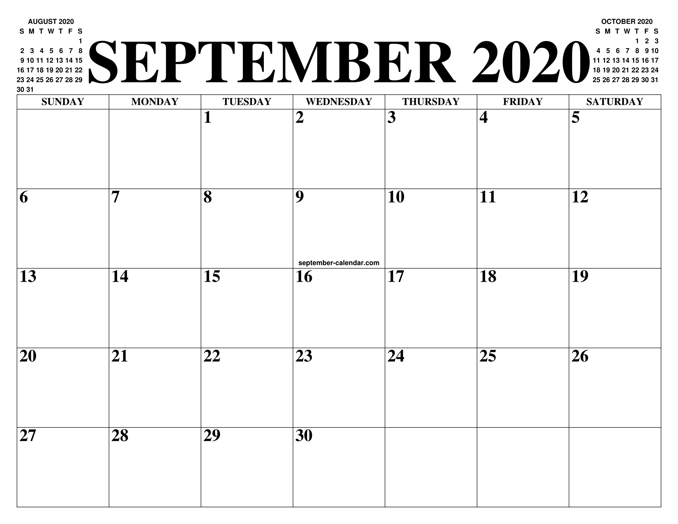 Calendario 2020 2020.September 2020 Calendar Of The Month Free Printable