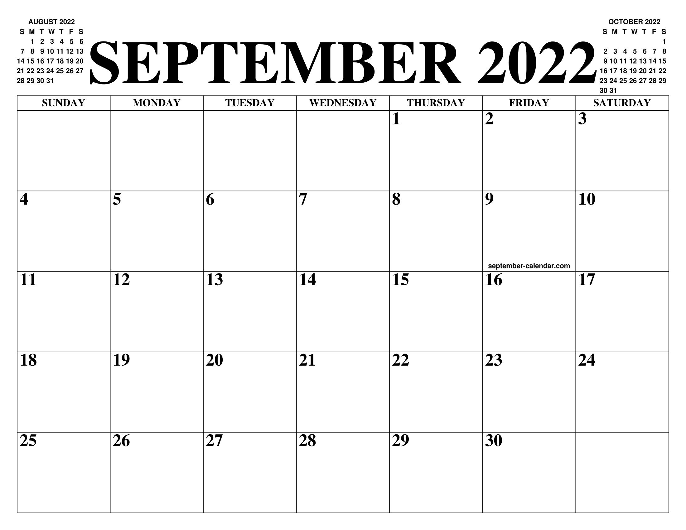 Calendar September 2022.September 2022 Calendar Of The Month Free Printable September Calendar Of The Year Agenda